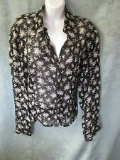Per Una Women's Sheer Blouse Size 18 B&W Floral Print Top Romantic