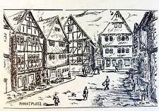 VINTAGE ORIGINAL ART GERMAN DRAWING CITYSCAPE ETCHING SIGNED BY HANS KISSEL