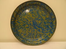 Antique Blue Gold Swirl Splatter Graniteware Enamelware Platter Tray Rare Color!