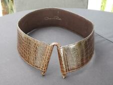 "Oscar De La Renta Crocodile Snakeskin Belt Size Small 2 1/2"" Wide"