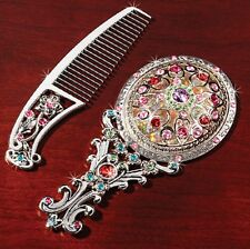 2 PC SILVER Jeweled VANITY SET Comb & Mirror NEW In Box DELUXE Heirloom
