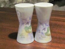 Violet purple floral Aiko hand painted salt and pepper shakers