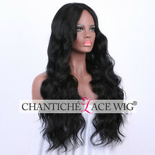 Realistic Synthetic Hair Wigs Black Long Natural Wavy Full Wig Heat Friendly UK