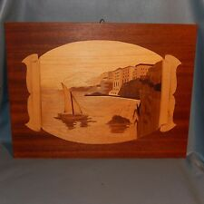 Vintage Wood Seascape Picture Marquetry Sailboat Inlaid Italian Inlay Italy Art
