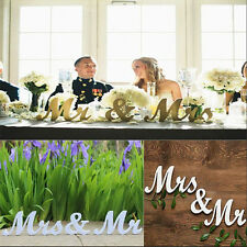 HOT Mr and Mrs White Letters Sign Wooden Standing Top Table Wedding Decoration