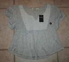 NWT Abercrombie Girls Small Heather Grey Lacy Peasant Top - LAST ONE!