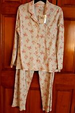 WOMEN'S ARIA CORAL ROSES 2-PIECE LARGE PAJAMA SET NEW WITH TAGS $60