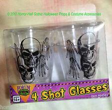 Gothic Skeleton SKULL SHOT GLASSES Drink Bar Halloween Prop Decorations-4-pc SET