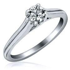Natural Solitaire Round Cut 0.33ct F/VS1 Diamond Engagement Ring 14k White Gold