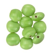 Shiny Opaque Green Disc Shape Smartie Glass Beads 12x6mm Pack of 10 (B13/4)