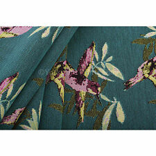 10 Metres Of Pink Blue Green Kingfisher Bird Pattern Fabric Upholstery Fabric