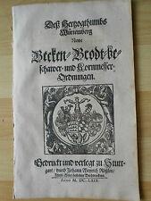 BÄCKER baker Brot bread pain pane Recht 1669 Rößlin Stuttgart