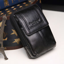 2016 Men Genuine Leather Cell Phone Case Cover Belt Pouch Fanny Pack Waist Bag