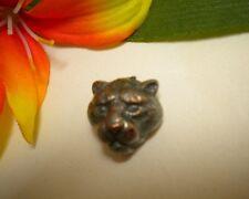 ANTIQUE VINTAGE REALISTIC WILD CAT COUGAR MOUNTAIN LION CUB JAGUAR HEAD BUTTON