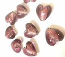 10 x 12mm Purple Foil Glass Heart Beads Postage Discounts