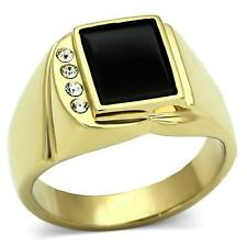 Men's 24K Gold Over Stainless Steel Genuine Black ONYX Ring 10.8mm Centre Stone.