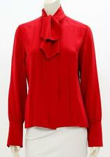 Chanel Vintage Red Silk Pleated Button Up Blouse