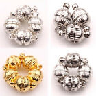 Lots 5/10 Sets White K/Silver/Gold Plated Round Flower Pattern Magnetic Clasps