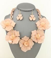 "18"" peach flower collar choker bib boho necklace statement 1"" earrings"