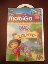 NEW! Vtech MobiGo Touch Learning Game Nickelodeon Dora the Explorer Twins Day