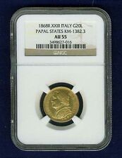 ITALY PAPAL STATES 1868 20 LIRE GOLD COIN ALMOST UNCIRCULATED CERTIFIED NGC AU55