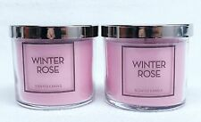 2 Bath & Body Works WINTER ROSE 1-Wick Medium Jar Candle 4 oz NEW