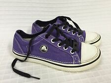 VGUC Kid's CROCS Hover METALLIC PURPLE Lace UP Sneakers Size 4 (J4) Canvas Youth