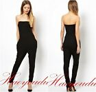 Women Sexy Strapless Slim Bodycon Stretch Jumpsuit Romper Casual Party Club A