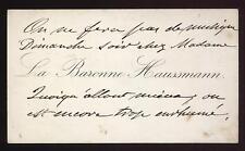 La Baronne Haussmann . carte de visite