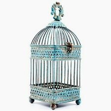 Gorgeous Antique Blue Square Iron Bird Cage.  Shabby-chic Home Decor
