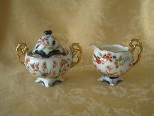 Vintage Imari Style Hand Painted Creamer and Sugar Bowl Made in Japan Gold Gilt