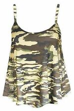 LADIES CAMOU/COMIC/WOW/ TARTAN PRINT STRAPPY CAMI SLEEVLESS SWING VEST TOP 8-26