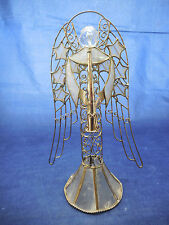 "Capiz shell angel figure, statue or tree topper 8 3/4"" playing horn"