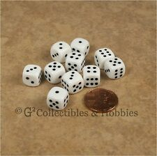 NEW 10 White 10mm Rounded Edge RPG D&D Game D6 Dice Set 6 Sided Koplow