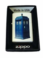 Zippo Custom Lighter British Blue Tardis Police Box White Matte Pocket New