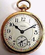 ANTIQUE ELGIN RR FATHER TIME 21'J RAILROAD POCKET WATCH 16'S GOLD F. MONTGOMERY