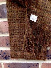 Harris Tweed Scarf Shawl Wool Khaki Green Aubergine Rust Luxury check Brown