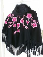TEMPERLEY LONDON BLACK FUR NECK PONCHO HAND BEADED & PINK EMBROIDERED FLOWERS
