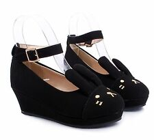 Black nn Cute Buckle Kids Girls Bunny Ears Wedge High Heels Youth Shoes Size 11