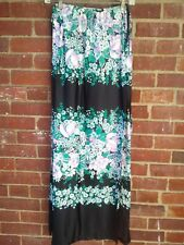 SAKS FIFTH AVENUE black+lilac floral maxi skirt high slit beach cover up P XS
