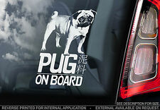 Pug Dog - Car Window Sticker - Chinese Toy Bulldog Mini On Board Sign Gift -TYP1