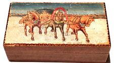 Antike russische Holzdose Brandmalerei Troika ca. 1930