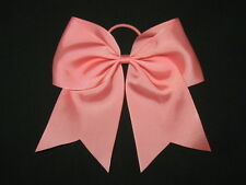"NEW ""CORAL ROSE"" Cheer Bow Pony Tail 3 Inch Ribbon Girls Hair Bows Cheerleading"