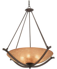 "Tawny Port Fluorescent 23.5"" Chandelier/Pendant With Bronze Bubble Glass"