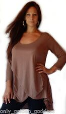 Brown blouse shirt top 3/4 sleeve asym 2x 3x 4x plus stretch jersey cross over