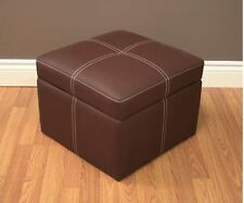 Footstool Ottoman Small Hassock Brown Storage Flip Top Footrest Rest Seat Cube