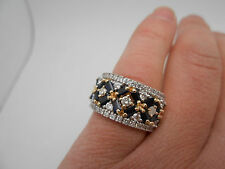 2 Ctw+ Designer EFFY 14k Yellow Gold Natural Sapphire & Diamond Ring Wide Band