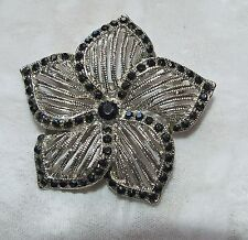ANTIQUE SILVER PLATED PIN BROOCH WITH BLACK RHINESTONES # 73