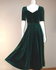 VTG Laura Ashley green velvet velour sweetheart neckline cotton dress 4 uk 8 34