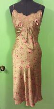 NEW VINTAGE BETSEY JOHNSON SILK CREAM FLORAL PRINT COCKTAIL PARTY SLIP DRESS 6